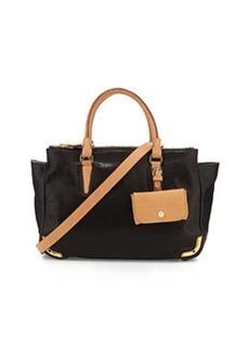 Etienne Aigner Daily Distressed Leather Medium Satchel Bag, Black