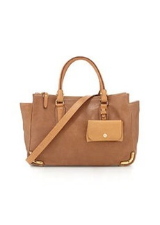 Etienne Aigner Daily Distressed Leather Medium Satchel Bag, Sand