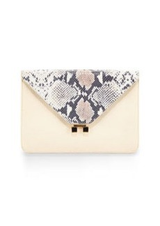 Etienne Aigner Forester Snake-Embossed Leather Envelope Clutch, Ivory