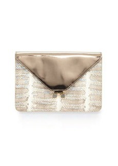 Etienne Aigner Forester Snake-Embossed Leather Metallic Envelope Clutch, Snow/Multi