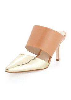 Etienne Aigner Lydia Metallic Pointed-Toe Slide, Pale Gold Mirror