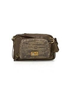 Etienne Aigner Paperback Distressed and Embossed Medium Leather Shoulder Bag, Bottle Green