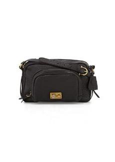 Etienne Aigner Paperback Distressed Medium Leather Shoulder Bag, Black