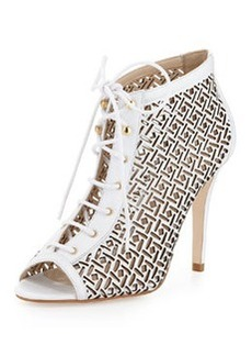 Etienne Aigner Perforated Lace-Up Bootie, White