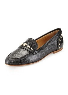 Etienne Aigner Sara Crackled Leather Loafer, Silver