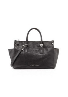 Etienne Aigner Structured Double Zip Leather Satchel, Black