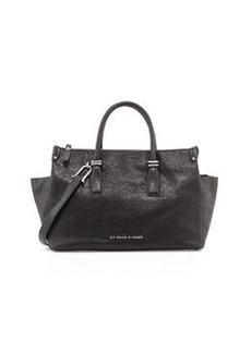 Etienne Aigner Structured Double Zip Leather Satchel, Black