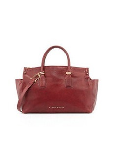 Etienne Aigner Structured Double Zip Leather Satchel, Cordovan Red