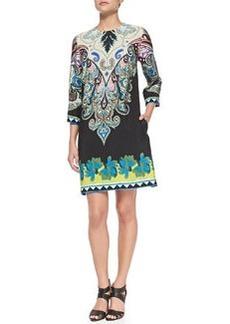 3/4-Sleeve Paisley & Floral Shift Dress   3/4-Sleeve Paisley & Floral Shift Dress
