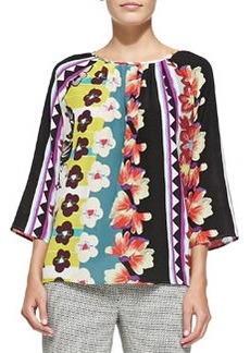 3/4-Sleeve Vertical Floral & Striped Blouse   3/4-Sleeve Vertical Floral & Striped Blouse