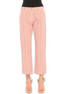 Arrow-Cut Fringed-Edge Jeans, Pink   Arrow-Cut Fringed-Edge Jeans, Pink
