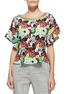 Beaded-Neck Floral Top W/ Flared Sleeves   Beaded-Neck Floral Top W/ Flared Sleeves