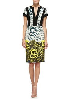 Deep Floral Sheath Dress W/ Bordered Bodice   Deep Floral Sheath Dress W/ Bordered Bodice