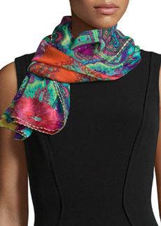 Deli Sheer Jacquard Rose-Print Scarf   Deli Sheer Jacquard Rose-Print Scarf