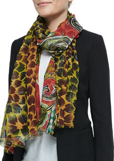 Double-Sided Floral/Paisley Scarf, Red/Yellow   Double-Sided Floral/Paisley Scarf, Red/Yellow
