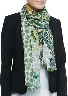 Double-Sided Floral/Paisley Scarf, White   Double-Sided Floral/Paisley Scarf, White