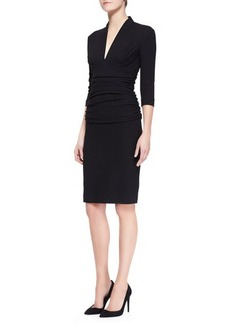 Etro 3/4-Sleeve Fitted Ruched-Waist Dress