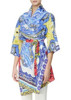 Etro 3/4 Sleeve Hawaiian & Paisely Print Tunic with Belt, Multicolor
