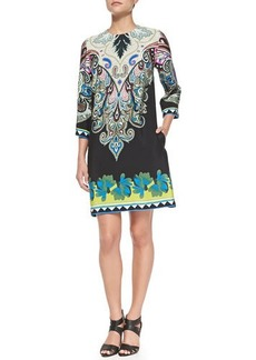 Etro 3/4-Sleeve Paisley & Floral Shift Dress  3/4-Sleeve Paisley & Floral Shift Dress