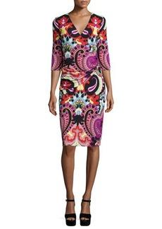 Etro 3/4-Sleeve Paisley Faux-Wrap Dress