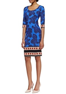 Etro 3/4-Sleeve Paisley Sheath Dress with Striped Border