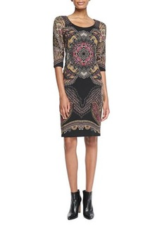 Etro 3/4-Sleeve Printed Sheath Dress