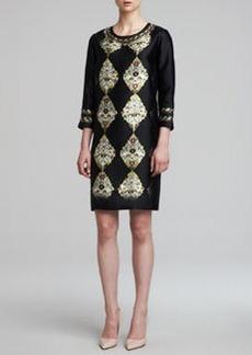 Etro 3/4-Sleeve Printed Silk Twill Dress, Black/Multi