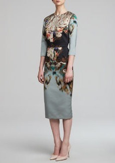 Etro 3/4-Sleeve Printed Techno Duchesse Dress