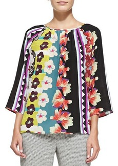Etro 3/4-Sleeve Vertical Floral & Striped Blouse