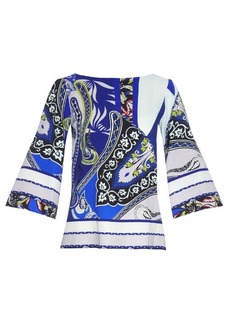 Etro Abstract paisley-print wool-crepe top