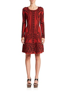Etro Abstract-Print Flared Knit Dress