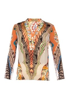 Etro Abstract-print silk-crépon top