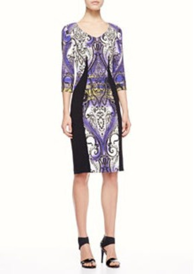 Etro Airbrush Paisley Panel Dress, Purple/Black