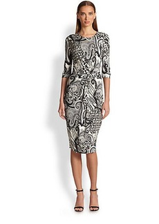 Etro Animal Paisley Knot-Front Dress