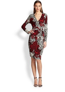 Etro Animal-Print Knot Jersey Dress