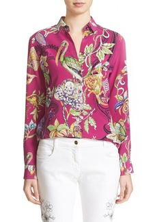 Etro Animal Print Silk Blouse