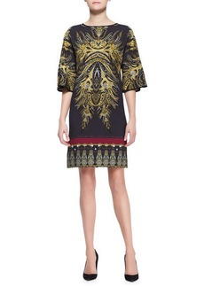 Etro Bell-Sleeve Gold Fern-Print Tunic