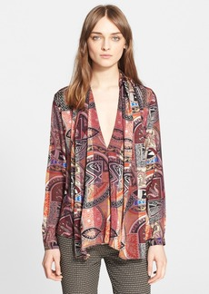 Etro Belted Print Silk Blouse