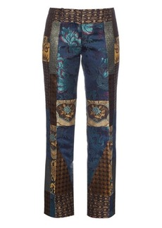 Etro Bianca patchwork kick-flare trousers