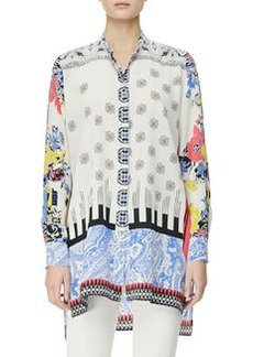 Etro Button-Down Deco Dot & Floral Tunic