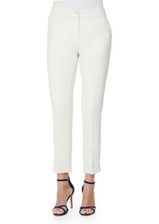 Etro Cady Cuffed Cigarette Trousers, Cream