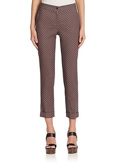Etro Cady Diamond-Pattern Stretch Wool Cropped Pants