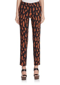 Etro Cady Tiger Print Slim Wool Pants