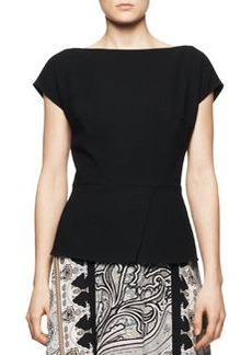 Etro Cap-Sleeve Peplum Top