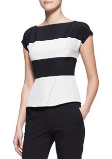 Etro Cap-Sleeve Wide-Stripe Peplum Top