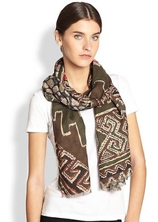 Etro Cashmere & Silk Reversible Tribal Scarf