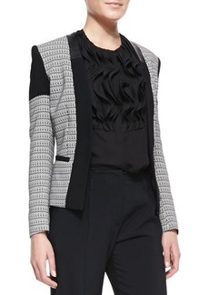 Etro Chain-Print Cady & Leather-Trim Open Jacket
