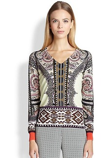 Etro Checker Paisley-Print Sweater