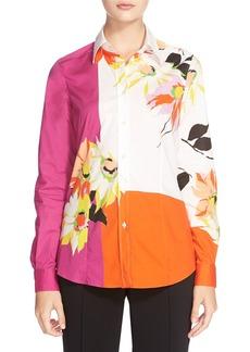 Etro Colorblock Floral Print Shirt