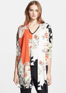 Etro Colorblock Floral Print Silk Cardigan
